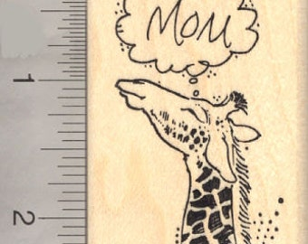 Mother's Day Giraffe Rubber Stamp H17003 Wood Mounted