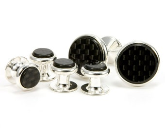 Carbon Fiber Silver Cufflink Tuxedo Stud Set, Unique Gift Carbon Fiber Gift For Him Mens Jewelry Gift For Dad Tuxedo Shirt Studs Fathers Day