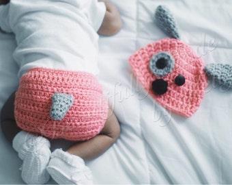 Crochet Puppy Baby Beanie and Diaper Cover Set- Newborn