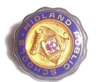 Vintage 10 kt. GF and  Enamel Midland Public Schools Pin