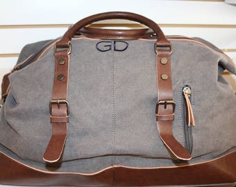Gray Duffle Bag-Groomsmen Gifts Personalized-Embroidered Initials- Available in Olive, Gray, Tan and Blue