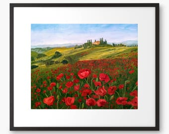 Limited Edition Tuscany Poppy Field Oil Painting Print