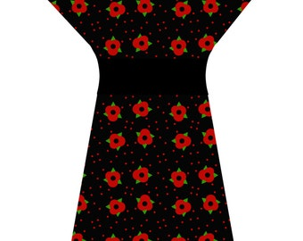 POPPY DRESS (handmade & custom printed fabric)