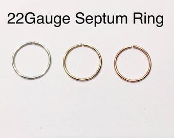Septum Sterling silver,14k Rose Gold , 14k Yellow Gold Filled Septum Ring 18G 20G 22G 24G 6mm 7mm 8mm 9mm 10mm Silver Filled Nose Hoop Ring