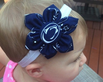 Free Shipping! Penn State University PSU nittany lion 6 petal fabric flower baby headband