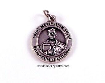 Saint Maximilian Kolbe Medal Patron Saint of Addicts, Journalists and Prisoners | Italian Rosary Parts