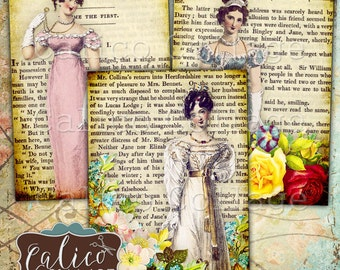 Jane Austen, Collage Sheet, Printable Ephemera, Digital Tags, Printable Download, Jane Austen Ephemera, Pride and Prejudice, CalicoCollage