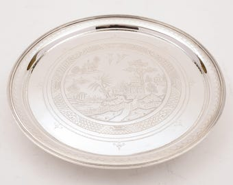 Victorian Silver Plated Salver in Chinoiserie Style, Circa 1890
