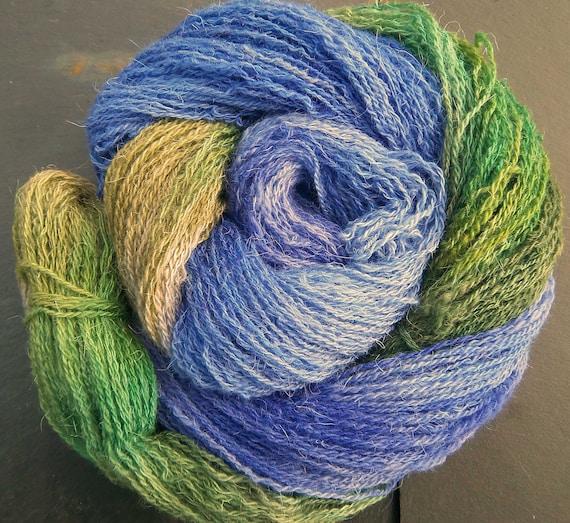 Hand Dyed Yarn  Elvincraft Sheep Light 4ply, Fingering Woodland Bluebells