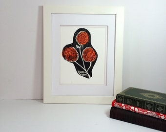 Black and orange modern flower linocut 9x12 handprinted printmaking