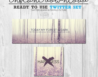 ready to use twitter cover image set, premade instant download social media twitter banner header graphics package, ready to upload twitter