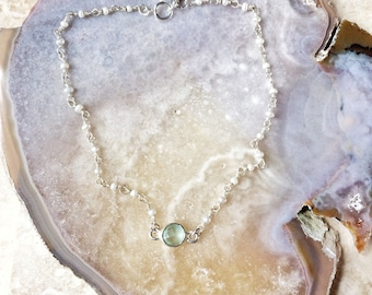 Adiona anklet - aqua chalcedony natural stone and freshwater pearls on sterling silver