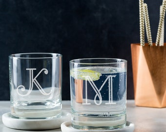 Personalised Engraved Glass Tumbler With Initial
