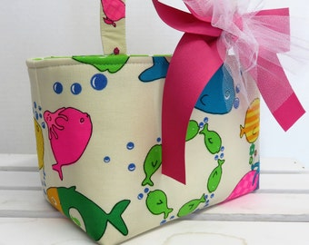 SALE / CLEARANCE - Easter Fabric - Candy Basket Bin Bucket Egg Hunt Storage Container - Colorful Fishes Sea Animals on Natural Fabric
