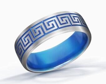 Greek Key Ring, Greek Wedding Ring, Greece Ring, Titanium Ring, Grecian Jewelry, Greek Wedding Band