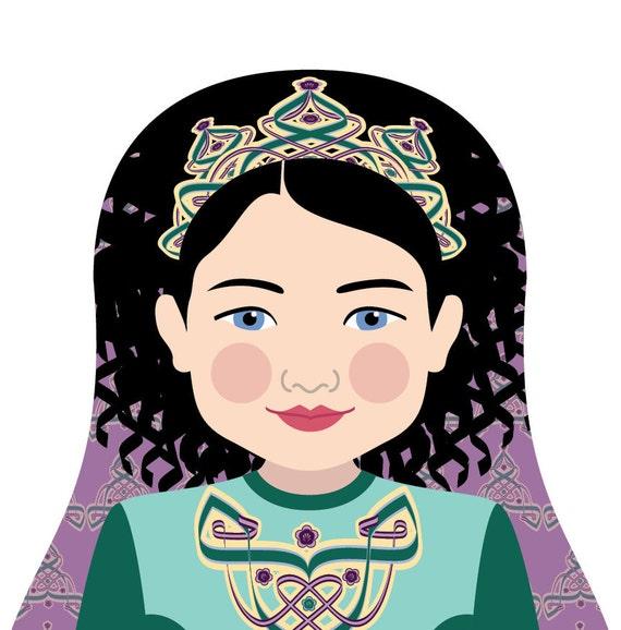 Irish Dancer Doll Art Print of traditional folk dress, matryoshka