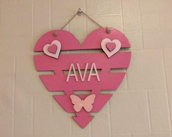 Personalised wall hanging, wall decor, heart plaque, girls decor, boys decor, wall art, wooden wall plaque, wooden name plaque, bunting