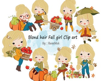 Blonde hair Fall girl clipart instant download PNG file - 300 dpi