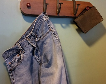Handmade Distressed Wood and Steel Hook Coat rack OOAK one of a kind