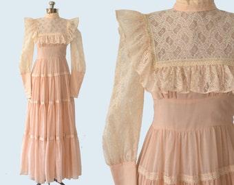 1970s Gunne Sax Peasant Dress size S
