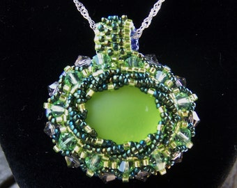 Summer Sale Limes and Grapes Two Sided Pendant with Swarovski Crystals