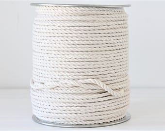 Cotton rope macrame 5mm 3 strand unbleached cotton , 100 feets to 500 feets reel, 166 yard