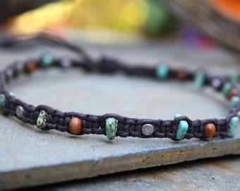 Macrame Anklet, Magnesite, Stone Anklet, Adjustable Anklet, Ankle Bracelet, Beaded Macrame, Summer Jewelry, Vegan Jewelry