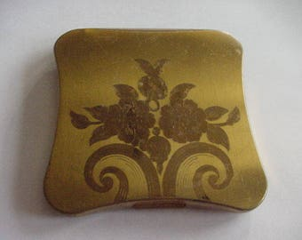 Vintage Powder Compact with Mirror, Elgin American, Goldtone Metal with Flowers on Top,