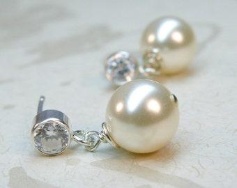 Bridal Drop Pearl Earrings, White Pearl, Ivory, Sterling Silver, Short Dangle Pearl, Bridesmaid Handmade Wedding Jewelry, Custom Colors