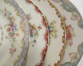 Vintage Mismatched China Dessert Plates, Bread Plates for Farmhouse, Shabby, Rustic, Tea Party, Wedding, Hostess Gift, Tea Plates - set of 4
