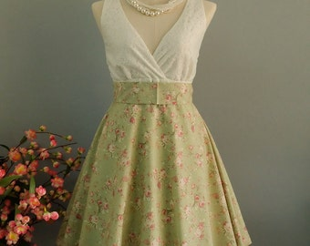 Green floral bridesmaid dress vintage prom dress 50's party dress tea dress sundress floral green dress wedding guest dress