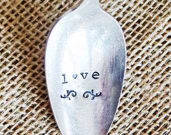 I Love you gift- Love Gift, Love Spoon, Silver Plated Spoon, Hand Stamped, Stamped Spoon, Fun Love Gift, Gift That Keeps On Giving,