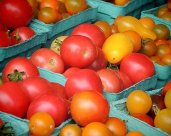 Colorful Cherry Tomatoes - Food Photograph - Kitchen Art Decor - Wall Decor - Farmer's Market Art - New York Cherry Tomatoes - Tomatoes Art