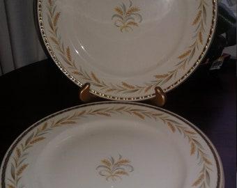 """4 Vintage Homer Laughlin Eggshell Georgian Kingston Wheat 9 3/4"""" Dinner Plates"""