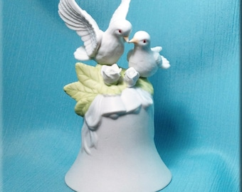 Porcelain Lovebird Bell Figurine
