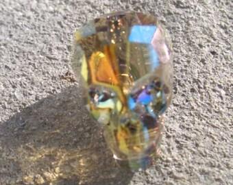Swarovski-5750-skull bead-crystal Iridescent Green (001IridGr)-13mm