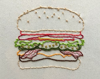 Cheeseburger Embroidery Pattern. Vignette Series.
