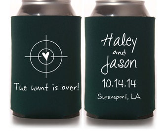 Fall Wedding Favors - The Hunt is Over Rustic Personalized Southern Wedding Can Coolers, Country Wedding Favors, Reception Favors for Guests