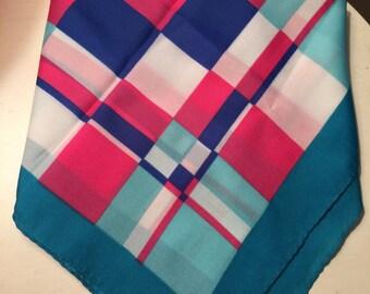 Vintage Scarf Aqua Pink Geometric Scarf