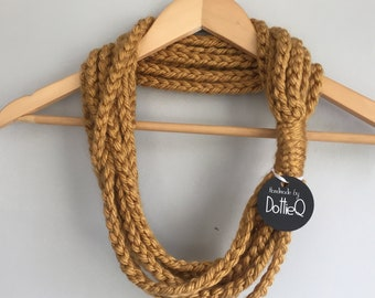 Honey Gold Scarf / Mid Length / Mustard Yellow Scarf / Hygge / Crochet Chain Scarf