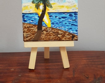 Beach painting, palm tree, ocean, original painting, gift, gift under 25, sunset, tiny art, mini painting, 3x3 canvas, prettyminipaintings