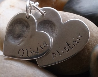 Set of 2 hearts fingerprint necklace, chain included.