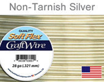 28 Gauge Silver Non Tarnish Silver Plated Wire, Soft Flex, Round, Supplies, Findings, Craft Wire