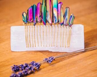Natural Raw Rainbow Titanium Aura Quartz Crystal Gold Comb Bridal Hair Crown Accessories
