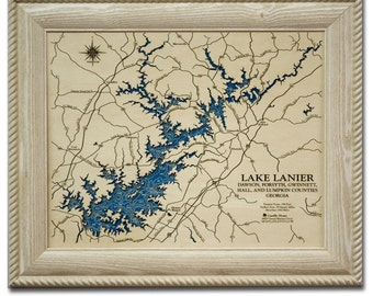 Lake Lanier Dimensional Wood Carved Depth Contour Map - Customize With Your Home Information