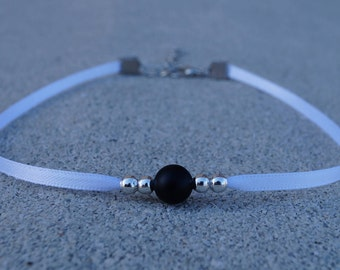 Black & Silver Bead Choker With White Band