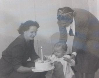Vieille Photo joyeux anniversaire Vintage Photo instantané