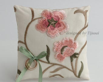 Out of stock-Ring pillow with embroidered floral fabric-ring bearer, ring cushion, ready to ship