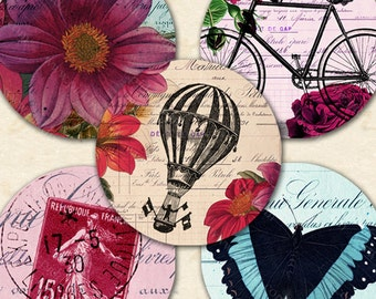 Printable Instant Download Vintage French Flowers Floral Butterflies Bicycle Dragonflies Eiffel Tower Balloon 1 Inch Circles Art piddix 1129