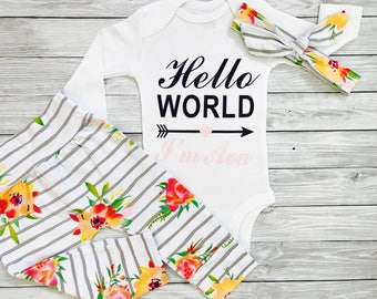 Newborn Girl Outfit, Coming Home Outfit Baby Girl, Personalized Newborn Outfit, Newborn Girl Outfit Personalized, Newborn Girl Clothes